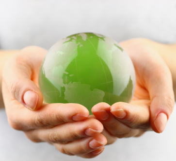 Enviroment earth in hands