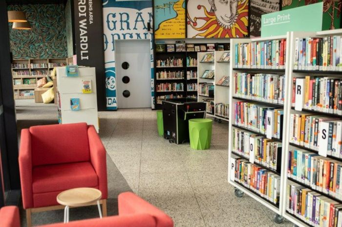 Library seating and books